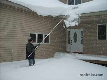 Using a roof rake